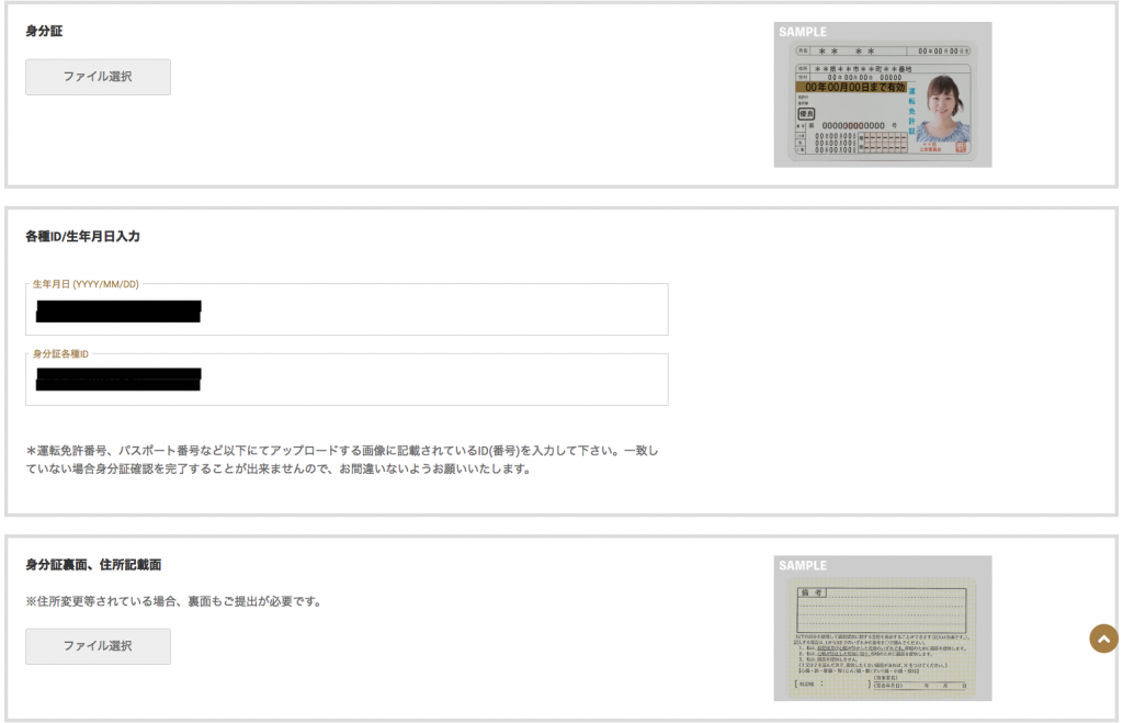 GEMFOREXの本人確認書類選択画面
